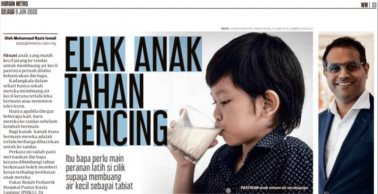 Elak Anak Tahan Kencing (Harian Metro 09-06-2020)